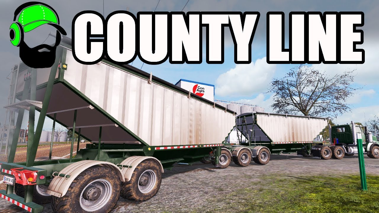 Farming Simulator 17 - County Line - Double Grains Trailers! #FS17